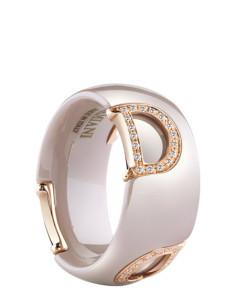 Damiani DICON Anello in ceramica cappuccino, oro rosa e diamante Ref. 20062649