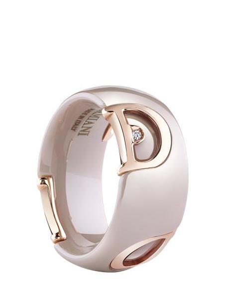 Damiani DICON Anello in ceramica cappuccino, oro rosa e diamante Ref. 20062643