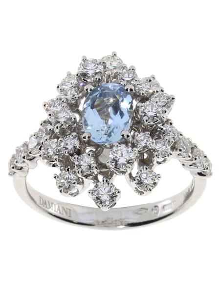 DAMIANI MIMOSA anello in oro bianco, acquamarina 1.30 ct e diamanti 1.04 GH