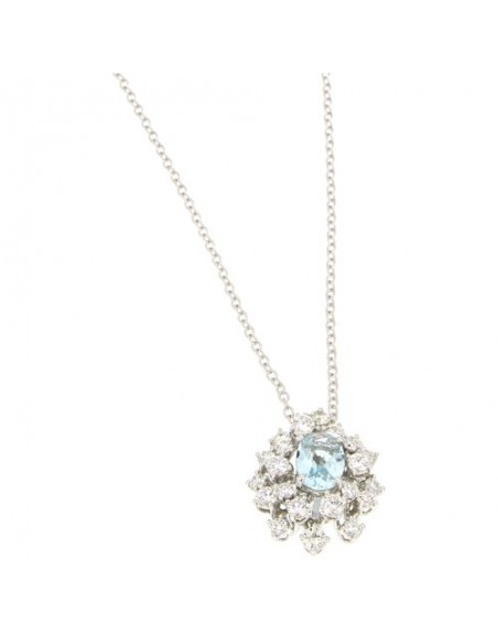 DAMIANI MIMOSA collana in oro bianco, acquamarina 1.60 ct e diamanti ct 0.84 GH