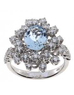 DAMIANI MIMOSA anello in oro bianco, acquamarina 3.20 ct e diamanti ct 1.65 GH