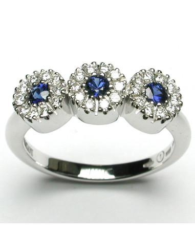 DAMIANI CRISTAL anello in oro bianco, zaffiro 0.30 ct e diamanti ct 0.33 H