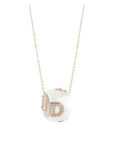 Damiani DIcon Collana in ceramica bianca e oro rosa con diamante (ct 0,15) Ref. 20045907