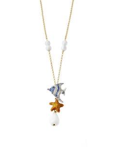 Misis Isla De Mujeres Collana Pesce blu e bianco, StellaMarina arancione e Agata bianca CA07514