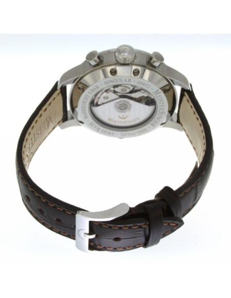 MeisterSinger Singular quadrante Bianco acciaio su pelle MM401