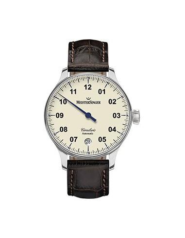 Meistersinger Circularis Automatic quadrante Avorio - acciaio su cinturino in pelle - 43 mm - ref. CC903