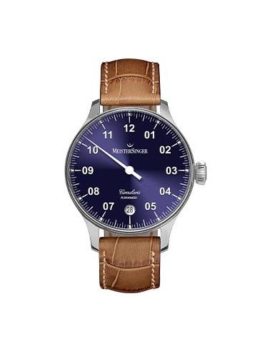 Meistersinger Circularis Automatic quadrante Blu - acciaio su cinturino in pelle - 43 mm - ref. CC908