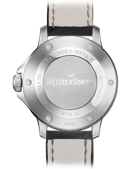 Meistersinger Salthora Meta X quadrante Blu - acciaio su cinturino in pelle - 43 mm - ref. SAMX908