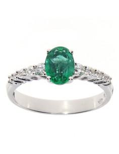 DAMIANI CLASSIC anello in oro bianco, smeraldo 0.77 ct e diamanti ct 0.24 GH