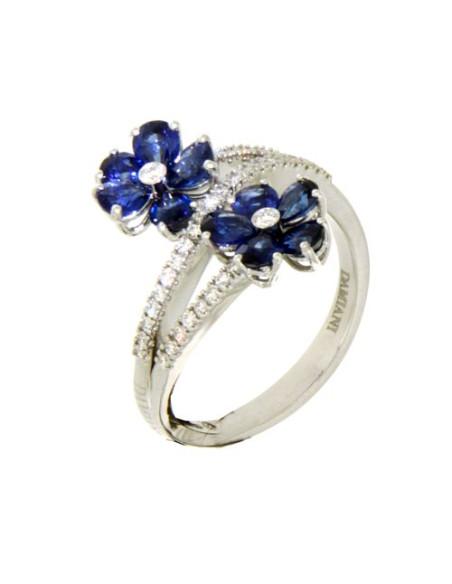 DAMIANI FIORELLINO anello in oro bianco, zaffiro 1.70 ct e diamanti ct 0.24 GH