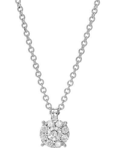 """Diamond Invest collezione """"Cerchio di Luce"""" collana oro bianco e diamante ct. 0.76"""