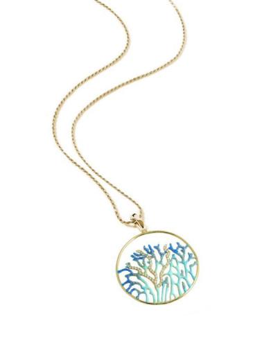 Misis Reef Party Collana Argento placcato, Smalto corallo azzurro e Zirconi CI05888A
