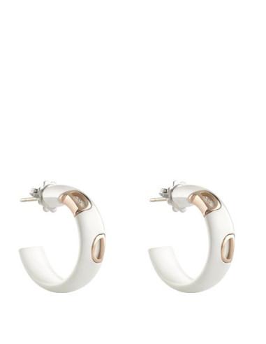 Damiani DIcon Orecchini in ceramica bianca e oro rosa con diamanti (ct 0,02) Ref. 20059341