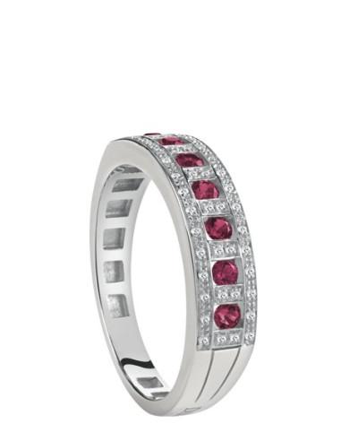 Damiani Belle Epoque Anello in oro bianco con rubini (ct 0.30)  e diamanti(ct 0.14) ref 20058706