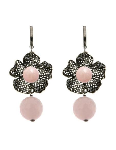 Misis Magnolia Orecchini Argento rodiato anticato Siliconite Cristallo rosa Quarzo rosa OR09236R