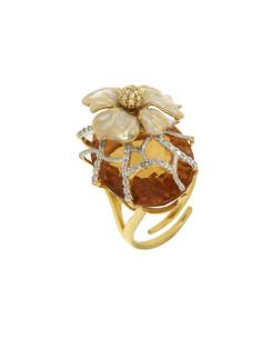 Misis Lisianthus Anello Argento placcato oro,  zirconi, smalto bianco, cristallo cognac AN03365