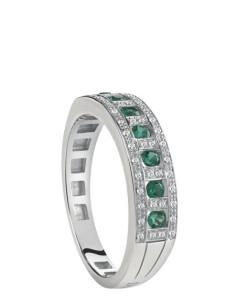 Damiani Belle Epoque Anello in oro bianco con smeraldi (ct 0.21)  e diamanti(ct 0.11) ref 20059730