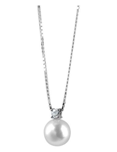 DAMIANI LE PERLE collana in oro bianco con diamanti e perla 8.00 - 8.25 ref: 20012317