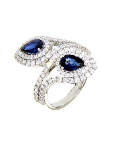 DAMIANI CLASSIC anello in oro bianco, zaffiro 1.67 ct e diamanti ct 1.21 GH