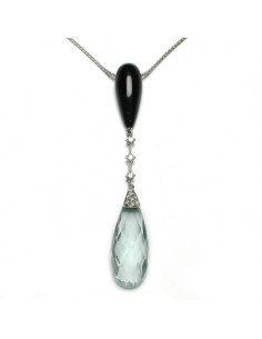DAMIANI FLAPPER collana in oro bianco, acquamarina 2.40 ct e diamanti ct 0.17 H - LIMITED EDITION
