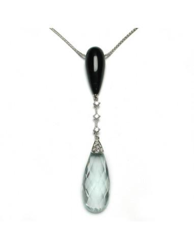 DAMIANI FLAPPER collana in oro bianco, acquamarina 2.40 ct e diamanti ct 0.17 H - LIMITED EDITION