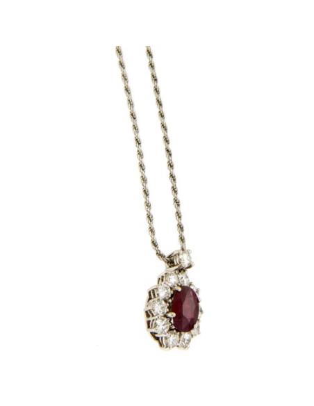DAMIANI CLASSIC collana in oro bianco, rubino 1.08 ct e diamanti 0.91 ct