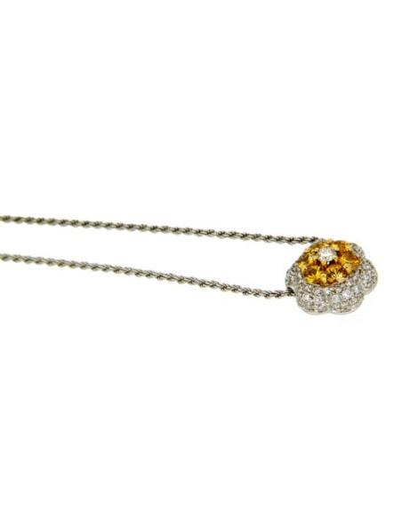 DAMIANI CLASSIC collana in oro bianco zaffiri gialli 0.70 ct e diamanti 0.44 ct