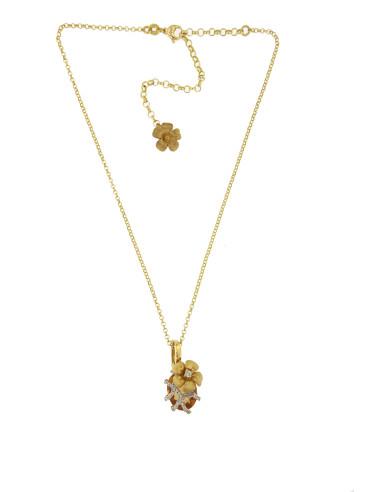 Misis Lisianthus Girocollo Argento placcato oro,  zirconi, cristallo cognac CA07975