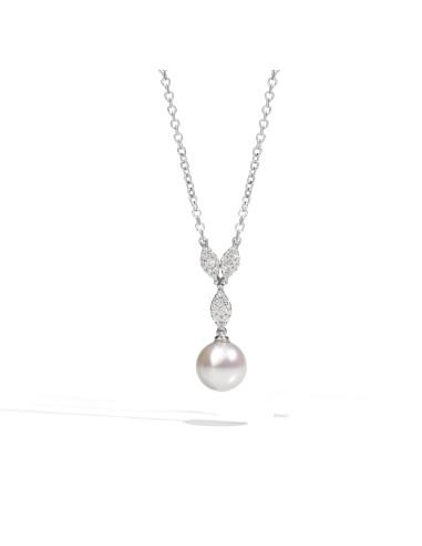 UTOPIA MY SONG collana in oro bianco con diamanti e perla 10.90 ref: ICP5BB05