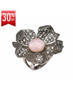 Misis Magnolia Anello Argento rodiato anticato Siliconite Cristallo rosa Quarzo rosa AN03319R