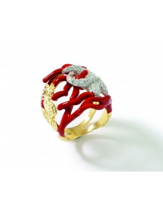 Misis Reef Party Anello Argento placcato, Smalto corallo rosso e Zirconi AN02905