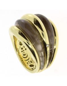 DAMIANI SPICCHI DI LUNA anello in oro giallo 18kt, quarzo fumè e diamante 20076842