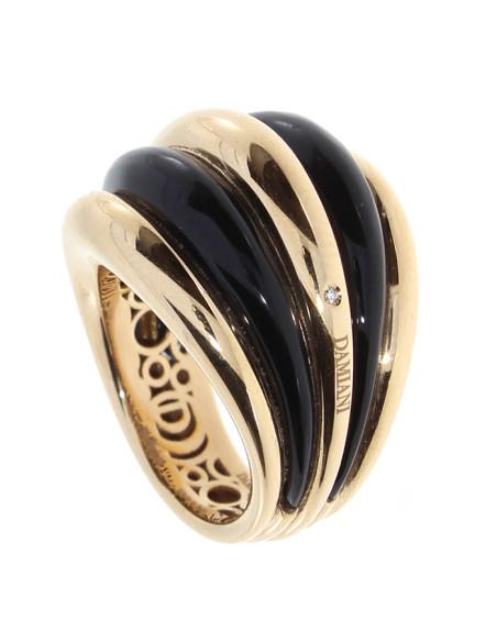 DAMIANI SPICCHI DI LUNA anello in oro rosa 18kt, onice e diamante 20077187