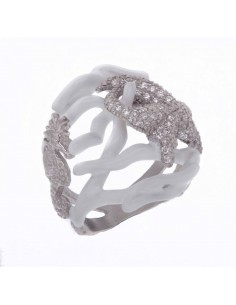 Misis Reef Party Anello Argento rodiato, Smalto corallo bianco e Zirconi AN02905B