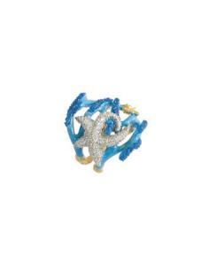 Misis Reef Party Anello Argento placcato, Smalto corallo azzurro e Zirconi AN02905A