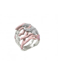 Misis Reef Party Anello Argento rodiato, Smalto corallo rosa e Zirconi AN02905R