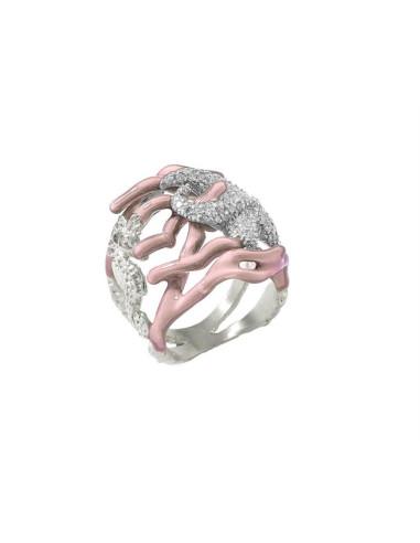 Misis Reef Party Anello Argento rodiato, Smalto corallo rosa e Zirconi AN02905R