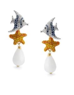 Misis Isla De Mujeres Orecchini Pesce blu e bianco, StellaMarina arancione e Agata bianca OR08647