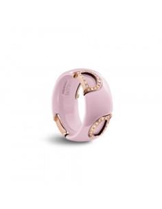Damiani DICON Anello in ceramica Rosa Confetto, oro rosa e diamante Ref. 20077031