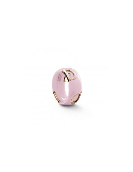 Damiani DICON Anello in ceramica Rosa Confetto, oro rosa e diamante Ref. 20077110