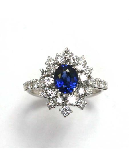 DAMIANI MIMOSA anello in oro bianco, zaffiro 1.20 ct e diamanti ct 1.04 GH