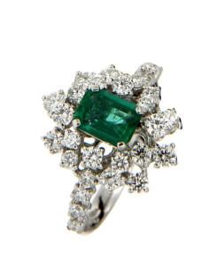 DAMIANI MIMOSA anello in oro bianco, smeraldo 0.80 ct e diamanti ct 1.04 GH
