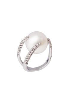 UTOPIA GALLERY anello in oro bianco con diamanti e perla 15.40 ref: JTA1BB10