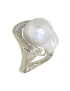 UTOPIA GALLERY anello in oro bianco con diamanti e perla 17 ref: GAU01