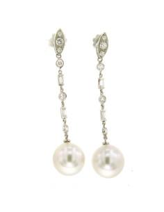 UTOPIA GALLERY orecchini in oro bianco con diamanti e perla 13.20 ref: GOAF014