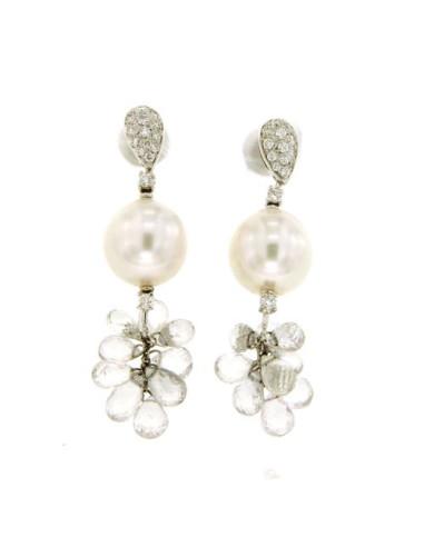 UTOPIA GALLERY orecchini in oro bianco con diamanti, zaffiri briolé e perla 11.50 ref: GODA10