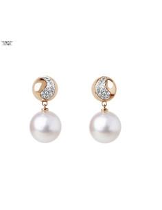 UTOPIA NIGHT FEVER orecchini in oro rosa con diamanti e perla 10.60 ref: JNO1UB01