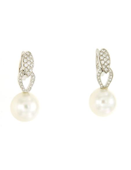 UTOPIA GALLERY orecchini in oro bianco con diamanti e perla 12.80 ref: GOSB104