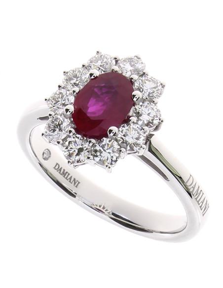 DAMIANI CLASSIC anello in oro bianco, rubino 0.88 ct e diamanti 0.74 ct