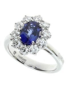 DAMIANI CLASSIC anello in oro bianco, zaffiro 1.54 ct e diamanti 1.21 ct